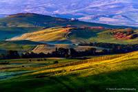 First sun light on Tuscan landscape